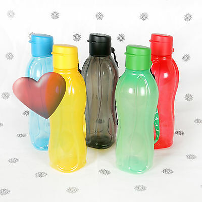 NEW Tupperware 500ml Flip Top Eco Drink Bottle carry strap Black Blue Green Red