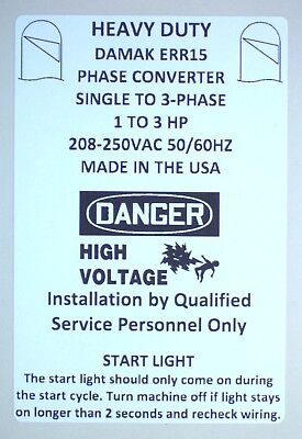 Heavy Duty 1-3 HP Static Phase Converter 208-250VAC Mill Drill Saw USA 50/60Hz