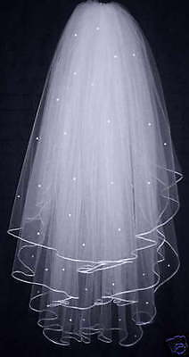 New 3T White/ Ivory Pearl Wedding Dress Bridal Veil With Comb 31 inches