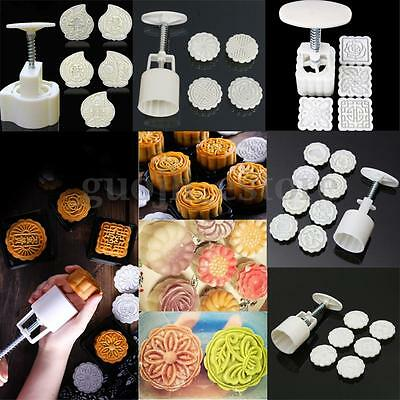 125g Moon Cake Mold Mooncake Decor Mould Flower Round Square Pastry Biscuit Tool