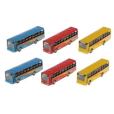 6pcs Diecast Model Bus Train Railway Street Diorama Scenery Layout N Scale