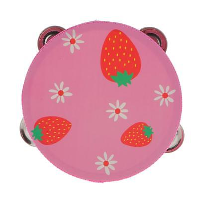 """6"""" Pink Strawberry Hand Held Tambourine Drum Jingles Musical Toy Percussion"""