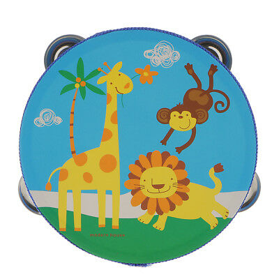 """6"""" Zoo Animals Hand Held Tambourine Drum Bell Jingles Musical Toy Percussion"""