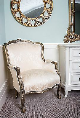 French Louis Tub Damask Gold Shabby Chic Bedroom Hallway Wooden Frame Chair Arm