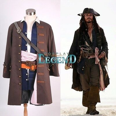 Customized Pirate Cosplay Costume Pirates of the Caribbean Captain Jack Sparrow
