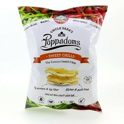 Uncle Saba's Poppadoms Sweet Chili Lentil Chips 50g Healthy Less Carbs Low GI