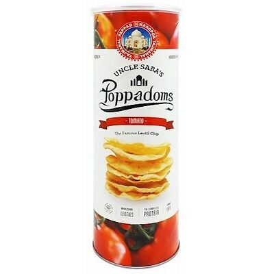 Uncle Saba's Poppadoms Tomato Lentil Chips 70g Healthy Less Carbs Low GI
