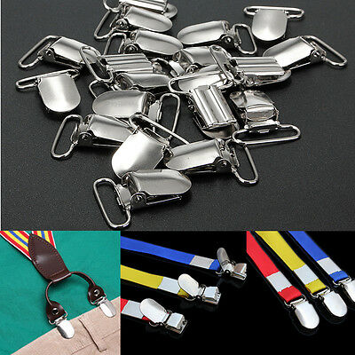 20 Pcs Metal Holder Insert Pacifier Silver Tone Suspender Clips Mitten 1''