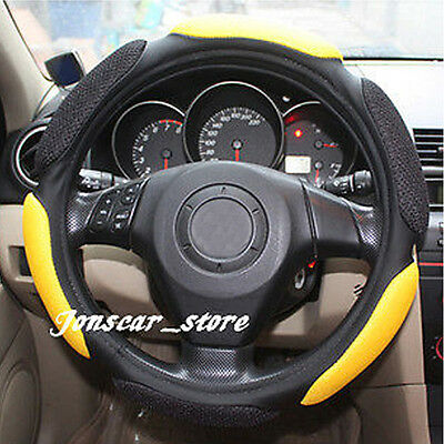 Breathable Sport Type Car Steering Wheel Cover Cap Anti-slip 38CM Yellow 15""