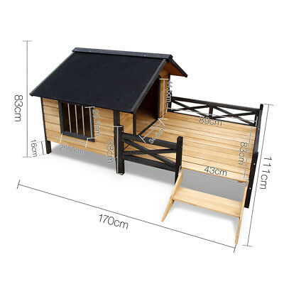 Extra Large Wooden Dog Puppy Kennel w/ Patio Pet House Bed Porch Deck Black New