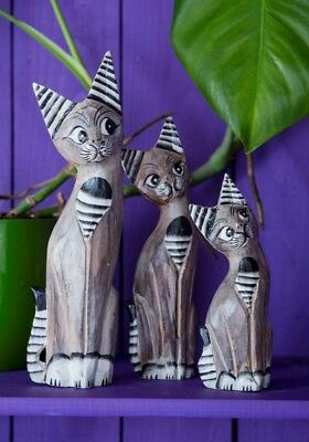 Set 3 Fair Trade Hand Carved Wooden Sculpture Wood Shabby Cat Statues Ornaments