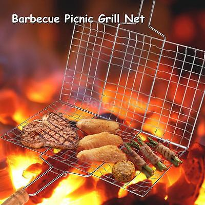Folding Charcoal Stainless Steel BBQ Barbecue Picnic Grill Cooking Grid Net R1D3