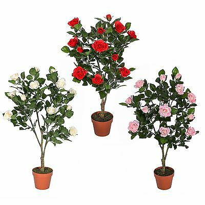 Artificial Potted Rose Tree Plants White Pink Red Wedding Party Flower Decor