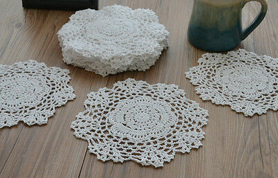 Set 6Pcs White 8'' Round Hand Crochet Doilies Floral Coasters Cup Mat Lot Pretty