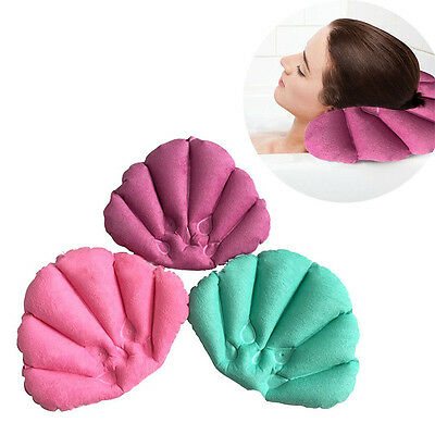 Inflatable Spa Bath Comfort Cushion Back Neck Support Pillow With 2 Suction Cups
