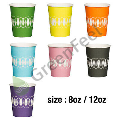 Disposable Paper Coffee Tea Cups 8oz,12oz & Sip Lids for Hot Drinks,Takeaway