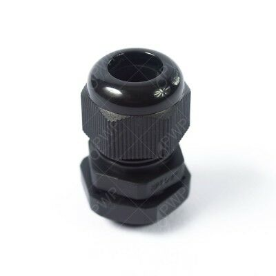 """10 Pack) 1/4"""" Black Nylon Cable Glands Strain Relief WIth Gasket and Lock-Nut"""