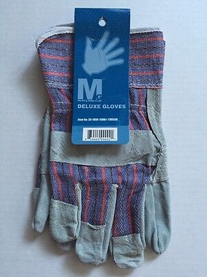 1 Pair of Double Palm Leather Work Gloves Patch Split Hand Heavy Duty - Large