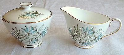 Tuscan Creamer With Closed Sugar - 'blue Lily' Fine Bone China - England (390)