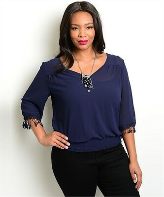 9e1bfd5a3f9 Women s Plus Size Flirty Navy Blue Top With Fringe Accent Sleeves 2Xl Nwt