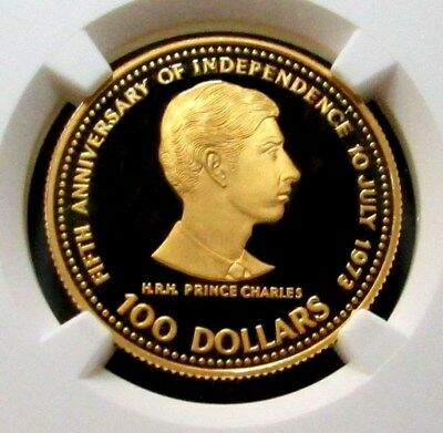 1978 GOLD BAHAMAS $100 PRINCE CHARLES NGC PROOF 69 ULTRA CAMEO 5th ANNIVERSARY