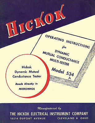 Operation & Test Data Manual For Hickok 534A Tube Tester