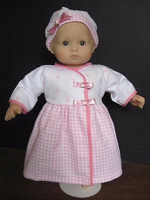 A G Bitty Baby; Handmade  Pink Gingham Dress and Cap