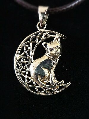 Lisa Parker Jewellery Sterling Silver Wicca Gothic Cat On Moon