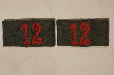 WW2 German 12th Veterinary Slip-on Pair for Shoulder Boards Straps