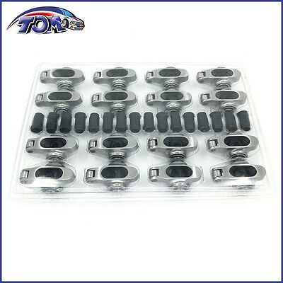 New Small Block Chevy Stainless Steel Full Roller Rocker Arms 1.6 Ratio 7/16