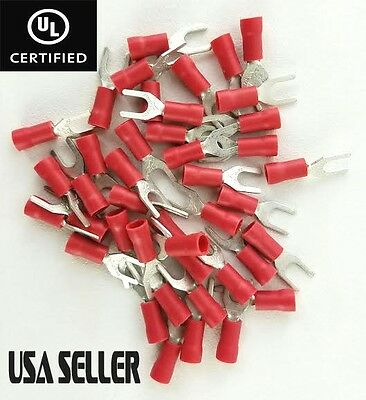 (100) 22-18 Gauge Red Spade Tinned Copper Terminals #8 Size Insulated Connector