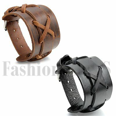 Punk Rock Men's Wide Leather Braided Bracelet Cuff Adjustable Bangle Wristband