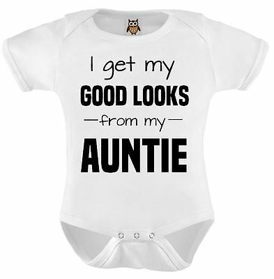 Personalised Baby Vest Bodysuit I Get My Good Looks From My Auntie Funny Gift