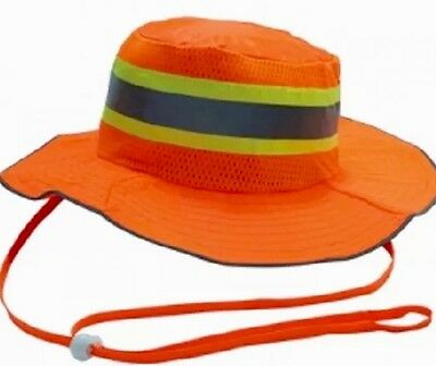 Safety Orange Reflective Hi Viz Boonie Hat Bucket Cap
