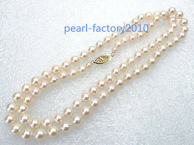 "CHARMING perfect round AAA+ grade 8mm white AKOYA pearls necklace 18"" 14K"