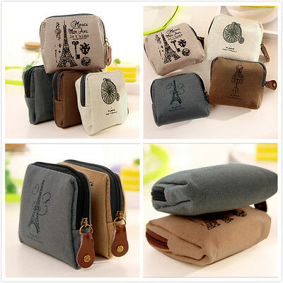 Retro Women Lady Small Canvas Purse Zipper Wallet Coin Key Holder Case Pouch Bag