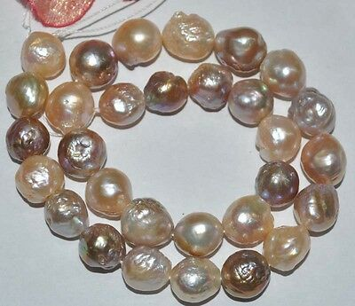 Natural rare baroque furrow 12-14mm mix freshwater pearl necklace