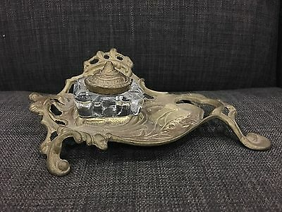 Vintage Ornate Inkwell Holder With Inkwell And Lid Brass Victorian Style