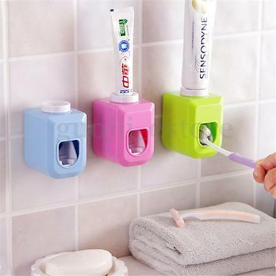 Automatic Toothpaste Dispenser Wall Mounted Squeezer Bathroom Toothbrush Holder