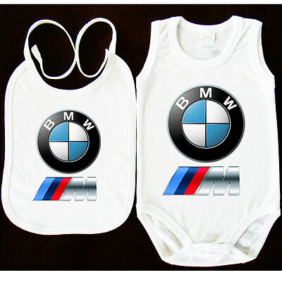 Bmw M Power Logo Bibs+Baby Bodysuit Onesie One Piece Clothing  Funk