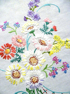 """Gorgeous Daisies & Primulas ~ Vintage Hand Embroidered Tablecloth 40"""" x 42"""""""