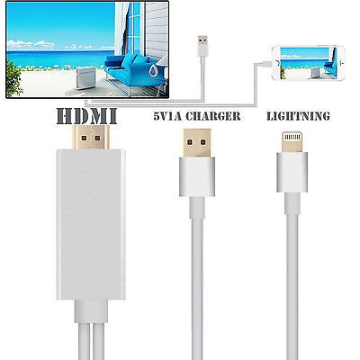 New HD 8 Pin Lightning to HDMI HDTV Cable Digital AV Adapter For iPhone 6S 5S UK