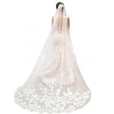 Bride White Ivory Elegant Cathedral Length Wedding Bridal Veil Comb Lace Edge 3M