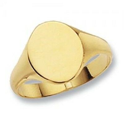 Solid 9 Ct Gold Oval Signet Ring **FREE ENGRAVING** UK Jeweller