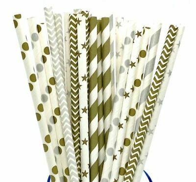 25 Gold Silver Paper Retro Vintage Party Drinking Straws Birthday Wedding