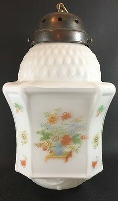 Vintage Milk Glass Hanging School Farm House Light Fixture Floral Bouquet Nice
