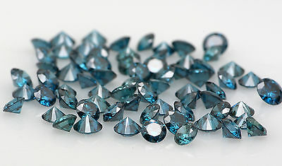 Natural Loose Diamond Blue Color Round VS1 SI1 Clarity 1.55 to 2.05MM 15 Pcs Q24