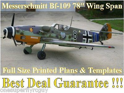 "Messerschmitt Bf-109 1/5 Scale 78"" WS RC Airplane Printed Plans & Templates"