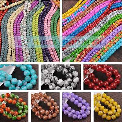 New Hot 8/10/12mm Round Jewelry Findings Crafts Czech Glass Loose Spacer Beads
