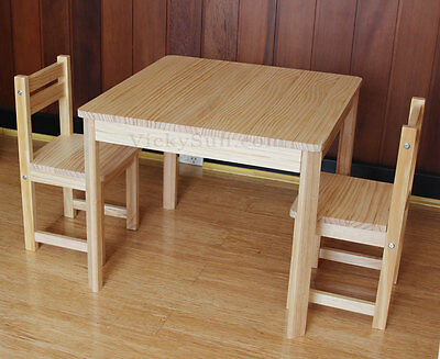Natural Wooden Kids Table and 2 Chair Set Children Furniture Set
